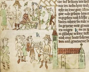 m 1300: deutsche Siedler erhalten einen Rodungsvertrag (Heidelberger Sachsenspiegel, Cod. Pal. germ. 164)