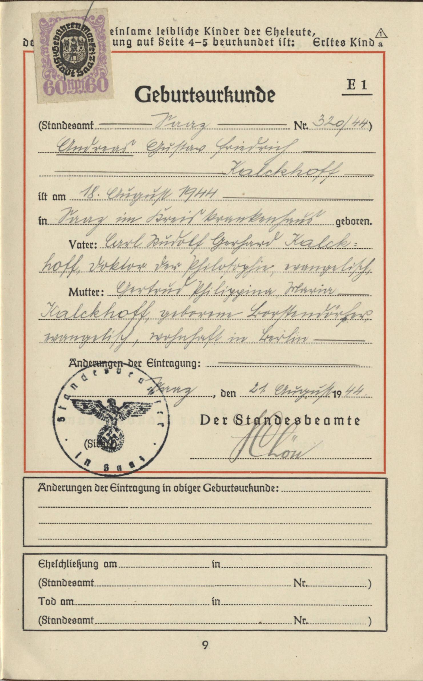 Geburtsurkunde von Andreas Kalckhoff, Saaz 1944