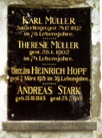 Familiengrab Karl Müller auf dem alten Saazer Friedhof
