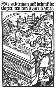 Der Ackermann aus Böhmen beklagt den Tod seiner Frau (Holzschnitt, vor 1480)