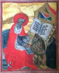 freundJohannes von Saaz (rechts) als Stifter des Hieronymus-Officiums in Eger (Bibliothek des Nationalmuseums Prag)